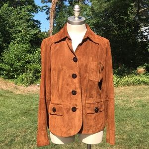 Talbots Genuine Suede Leather Brown Jacket Size M
